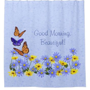 Pretty Butterflies and Daisies Spring Garden Shower Curtain