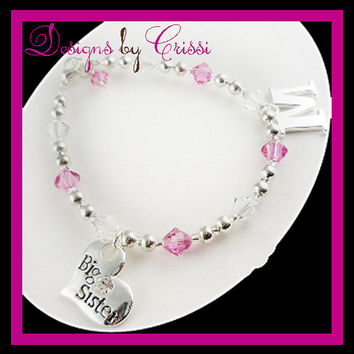Big Sister Bracelet Personalized  Initial Gift Charm Lil Sister Custom, baby, toddler. Silver, charm, new baby arrives