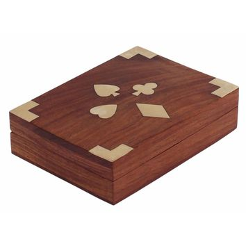 Handcrafted Wooden Jewelry/Keepsake Box With Brass Inlay , Brown  By Benzara