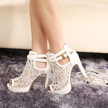 2017 New Lace Women Platform Pumps Sandals White Mesh Black High Heels Peep Toe Shoes
