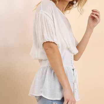 Corset Puff Sleeve Top - Off White
