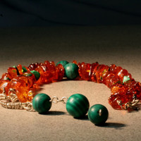 Baltic amber, malachite and sterling silver necklace
