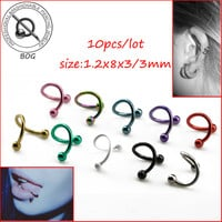 BOG-Lot 10 Pieces Anodized S Spiral Twisted Lip Ring Nose Ring Ear Cartilage Helix Piercing Body Piercing Jewelry 16g