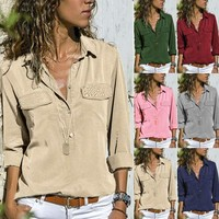 Women's V Neck Long Sleeve T Shirt Casual Loose Blouse Button Down Pocket Tops