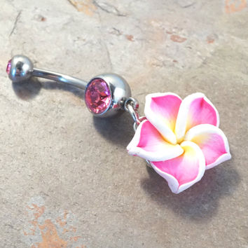 Pink Hawaiian Flower Belly Button Jewelrt Ring Piercing