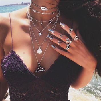 Bohemian Multilayer Mermaid Tail Pendant Necklace for Women Vintage Beach Silver Color Shell Choker Necklace Pendant Jewelry