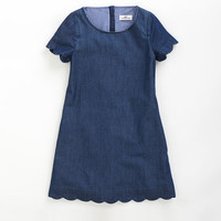 Girls Chambray Scallop Dress