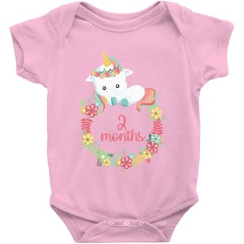 Unicorn Milestone Infant Bodysuit - 2 Months