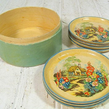 Vintage Sea Foam Enamel Wooden Round Coasters Set in Matching Box - Made in Japan Hand Painted Colorful Thatched Cottage Garden Small Plates