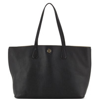 Perry Leather Tote Bag, Black/Beige - Tory Burch