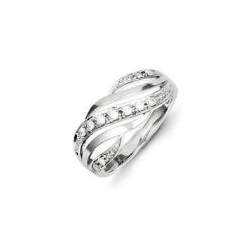 Sterling Silver Diamond Wave Ring