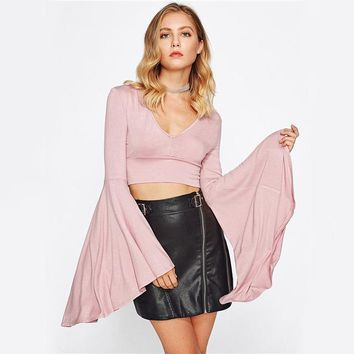 4dfc077f714e91 Shop Bell Sleeve Crop Top on Wanelo