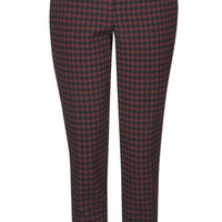 PETITE Dogtooth Cigarette Trousers - Burgundy