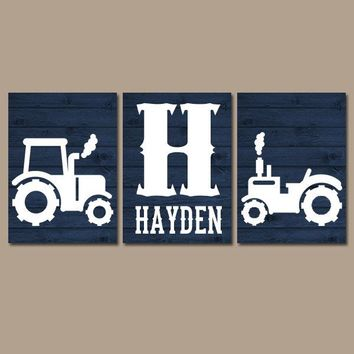 Tractor Wall Art, Canvas or Prints, Rustic Country Nursery Pictures, Big Boy Bedroom, Baby Boy Name, Tractor Decor, Navy Faux Wood Set of 3