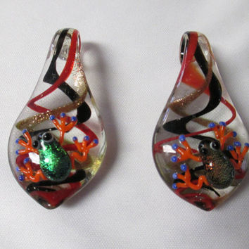 FROG Pendants lot of 2 Jumbo Glass Lampwork WHOLESALE
