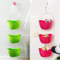 3Pcs/set Shower Bathroom Hanging Basket Mutifunctional Caddy Plastic Rack Kitchen Organizer Storage Container Space Save