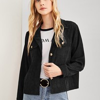 Corduroy Crop Jacket- Black