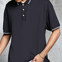 Boxy Stripe Trim Polo Shirt