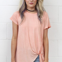 Mineral Washed Get Twisted Short Sleeve {Dusty Pink}
