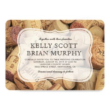 Rustic Country Vintage Winery Cork Wine Wedding Card