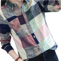 Women Plaid  Blouse And Shirt Ladies Female Casual Cotton Long Sleeve Plaid Shirt  Plus Size Chemise Femme Tops Blusas