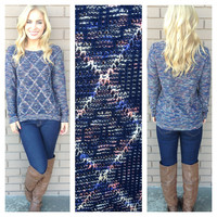 Blue Diamond Knit Sweater