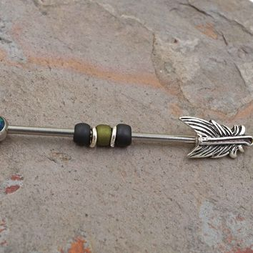 Black Opal Feather Industrial Barbell