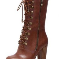 Brown Boots - Bqueen Leather Lace-Up Boots B014Z1 | UsTrendy