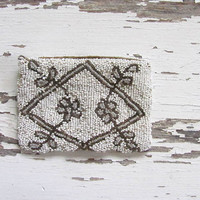 antique beaded Pouch Coin Purse //  Art Deco / Art Nouveau / Greaty Gatsby // flapper purse // made in Belium