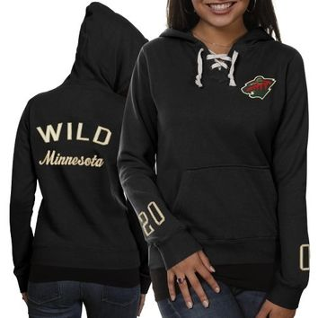 Old Time Hockey Minnesota Wild Ladies Queensboro Lace-Up Pullover Hoodie Sweatshirt - Black -