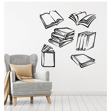 Vinyl Wall Decal Open Books Shop Library Bookstore Reading Room School Stickers Mural (g2757)