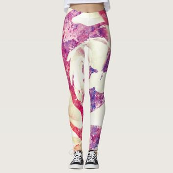 Cool white marble texture with Pink purple Rose fl Leggings