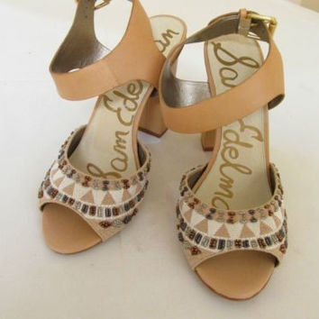 Sam Edelman Yuri Tan Textile Metallic and Leather High Heel Sling Back Sandals