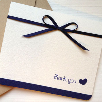 Navy Blue Wedding Thank You Card - Nautical Blue - Personalized cards