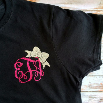 Glitter Monogram T Shirt, Monogrammed Gifts, Bridesmaids,Women, Girls, Teens, Cheer T shirt, Dance T shirt