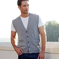 Men's Sleeveless Vest | Cardigan Lambswool | Wool Overs USA