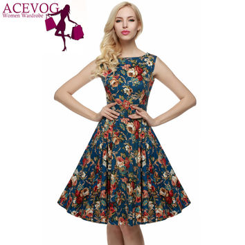 ACEVOG Brand Women 2016 Summer Dress Sleeveless Tunic Casual Vintage 1950s 60s Party Rockabilly Big Swing Long Floral Dresses