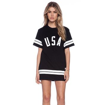 Trendy Basic Mini Dress USA Letter Print Dress