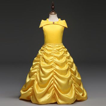 Fantastic Princess Cosplay Beauty And The Beast Yellow Ball Halloween Prom Gown Role Play Belle Costume Party Dress for Girl 10T