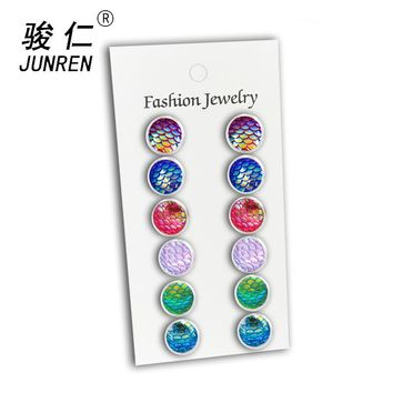 NEW 6 Pair/pack Multicolor Round Mermaid Stud Earrings Brincos Piercing Fish Scale Pattern Earring For Women Bijoux Jewelry 12mm