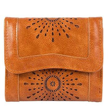 PU Leather Hollow Out Card Holder Stylish Trifold Small Purse Women's Wallet