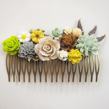 Wedding Hair Accessories Custom Made Hair Comb for Bride Bridal Headpiece Ivory Cream Yellow Mint Green Brown Sage Pastel Floral Hair Slide