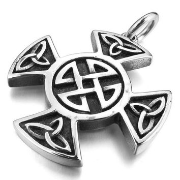 Stainless Steel Necklace Pendant Silver Irish- Triquetra Celtic knot- Stainless steel mens