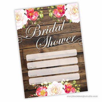 Wood Floral Bridal Shower Fill In Invitations