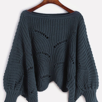 Navy Boat Neck Lantern Sleeve Sweater