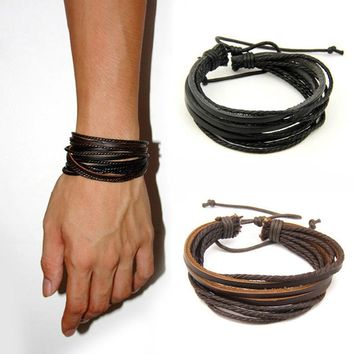 Fashion Jewelry Leather Braided Rope Wristband Wrap multi layer men bracelets & bangles for women