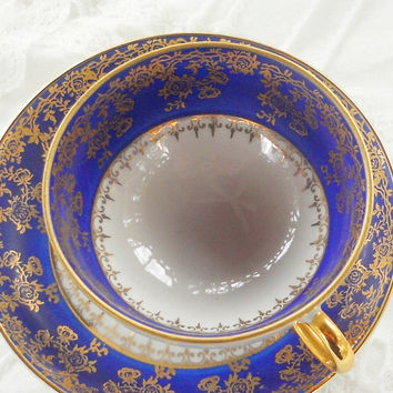 Vintage Johann Haviland Footed Demitasse Cup and Saucer Set, Princess Tea Party, Cobalt Blue Gold Tea Cup, Small Cup and Saucer