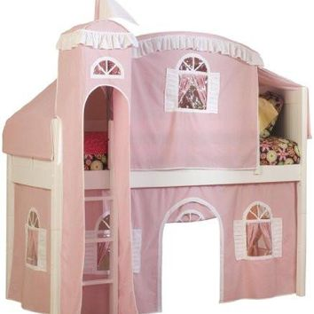 Loft Castle Bed with Pink/White Tower, Top Tent and Bottom Curtain Kids Playhouse- 2 day Free Shipping!