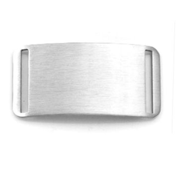 Engraved Stainless Steel Large Rectangle Sliding Bracelet ID Tag