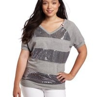 Southpole Juniors Plus-Size Short Sleeve French Terry Sequins Stripe Active Top